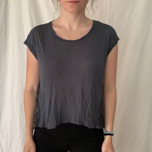 Gray T-Shirt with Lace Sides